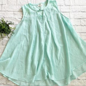 Umgee mint green sleeveless swing tunic M